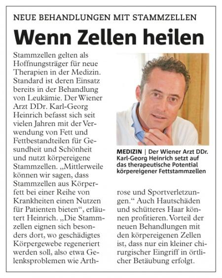 Wiener Bezirksblatt: Wenn Zellen heilen